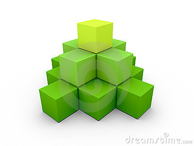 A pyramid made of similar green boxes