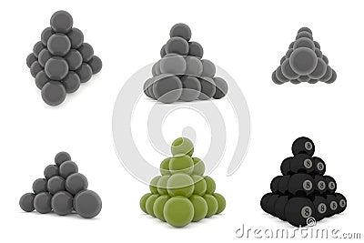 Pyramid of metal balls