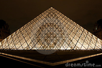 Pyramid of Museum du Louvre by night Editorial Photo