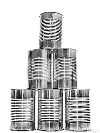 Free Pyramid Of Metal Cans On White Stock Images - 12434724