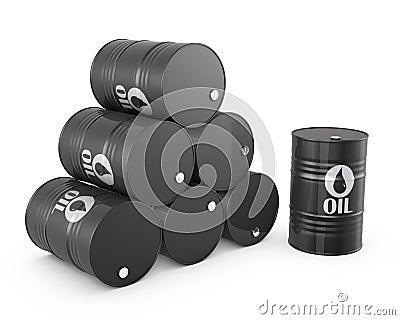 Pyramid of oil barrels and single barrel