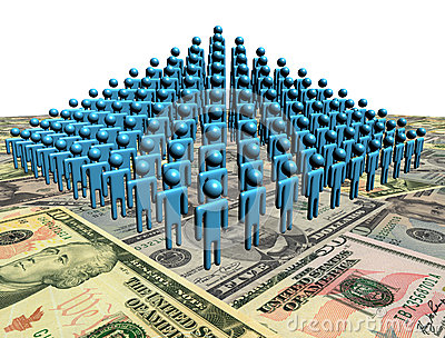 Pyramid of people on American dollars