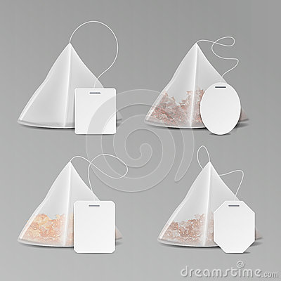 Free Pyramid Shape Tea Bag Set. Mock Up With Empty Square, Rectangle Labels. 3D Realistic Teabag Template. Vector Illustration Royalty Free Stock Images - 93805029