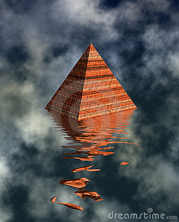 Pyramid watery landscape