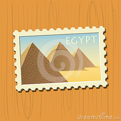 Pyramids on Egyptian stamp