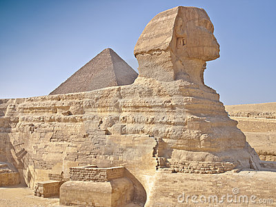 Pyramids in giza cairo egypt and the sphinx