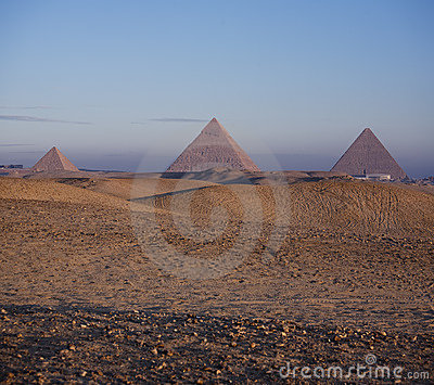 The Pyramids of Giza at sunrise