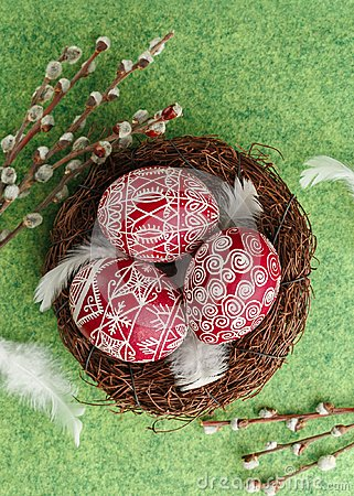 Free Pysanky, Decorated Easter Eggs In The Nest Royalty Free Stock Images - 106629999