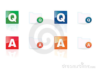 Q and A icon set in 4