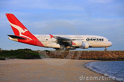 Qantas A380 Airbus at Sydney Airport, Australia. Editorial Photography