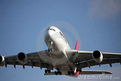 Qantas A380 approach to land Editorial Image