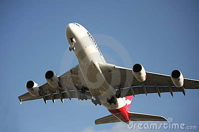 Qantas A380 prepares to land Editorial Image