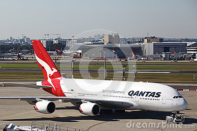 QANTAS AIRBUS A380 AIRLINER Editorial Stock Photo