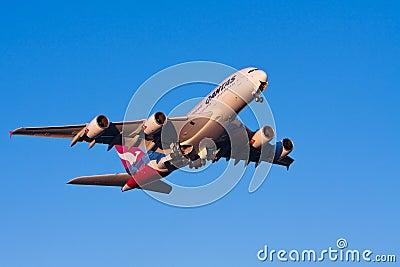 Qantas Airbus A380 airliner in flight Editorial Photo