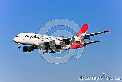 Qantas Airbus A380 en vuelo. Foto de archivo editorial