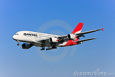 Qantas Airbus A380 in flight. Editorial Stock Photo