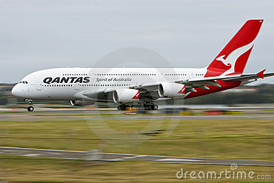 Qantas Airbus A380 in motion on runway. Editorial Photography