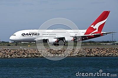Qantas Airbus A380 on runway Editorial Stock Image