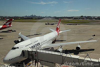 Qantas Airbus at gate Sydney in background Editorial Stock Image