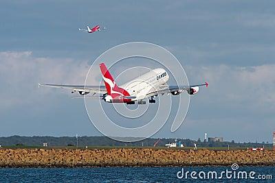 Qantas Airbus A380 jet taking off. Editorial Image