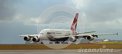 Qantas Airbus A380 on runway Editorial Stock Photo