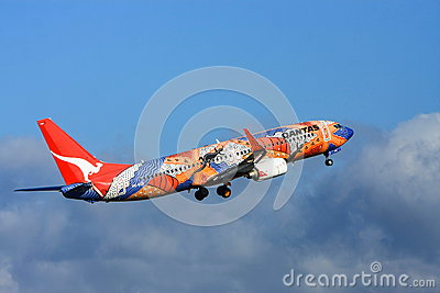 Qantas Airlines Boeing 737 Airliner Editorial Photo