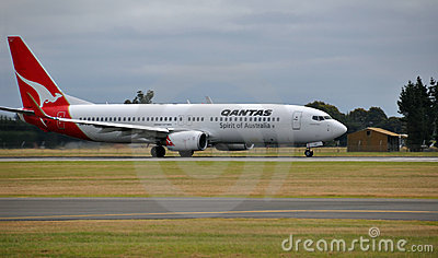 Qantas Boeing 737-800 Lands at Christchurch Editorial Image