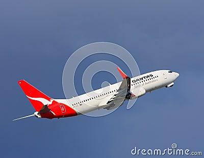 Qantas Boeing 737 in flight Editorial Photography