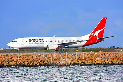 Qantas Boeing 737 on the runway. Editorial Photography