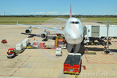 Qantas Boeing 747-400 is being loaded Editorial Photo
