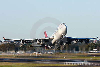 Qantas Boeing 747 airliner taking off. Editorial Stock Image
