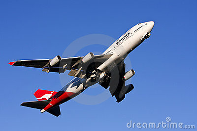 Qantas Boeing 747 airliner taking off. Editorial Photography