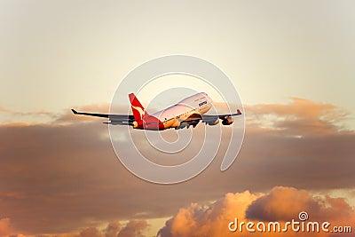Qantas Boeing 747 jet in flight Editorial Image