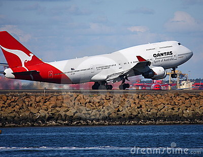 Qantas Boeing 747 jet taking off Editorial Photo