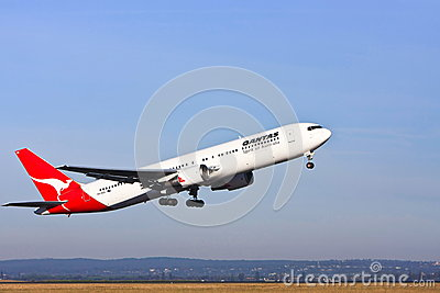 Qantas Boeing 767 airliner taking off Editorial Stock Image
