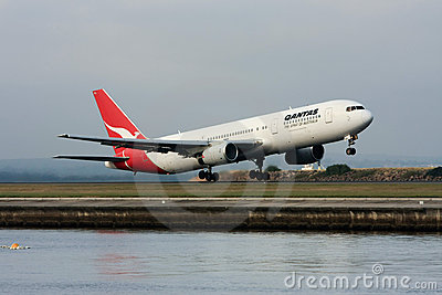 Qantas Boeing 767 jet airliner taking off. Editorial Photo