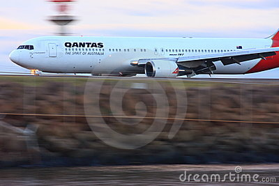 Qantas Boeing 767 in motion Editorial Photography
