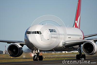 Qantas Boeing 767 on the runway. Editorial Stock Image