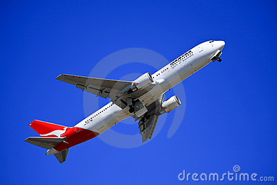 Qantas Boeing 767 taking off. Editorial Stock Photo