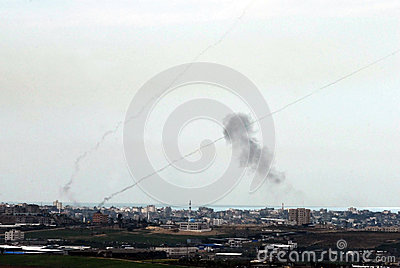 Qassam rockets fired for Gaza Strip to Israel Editorial Stock Photo