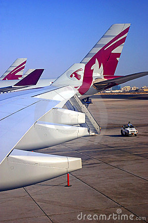 Qatar airplanes on a runway Editorial Image