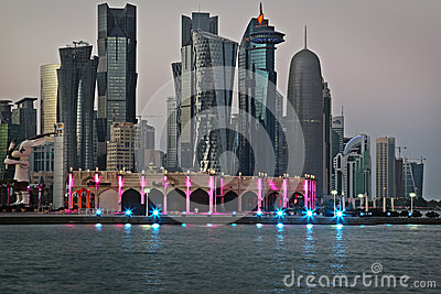 Qatar: Commercial center of Doha Editorial Stock Photo