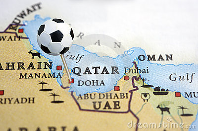 Qatar on a map with a soccer ball pin
