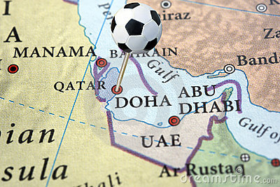 Qatar on a map with soccer pin