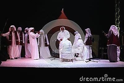 Qatari cultural troupe perform Editorial Stock Image