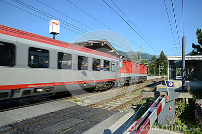 QBB Austria train arrive in the train station Editorial Stock Photo