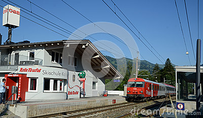 QBB Austria train arrive in the train station Editorial Photo