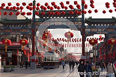 Qianmen Street in Beijing, China Editorial Photography