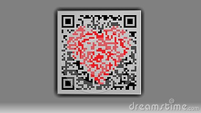 Qr code with a heart in the middle on a gray background. Vector Illustration