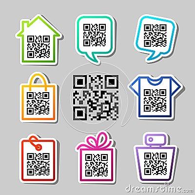 QR-Code. 8 icons set